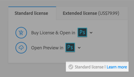 A screenshot of the image preview page shows the type of license associated with the image